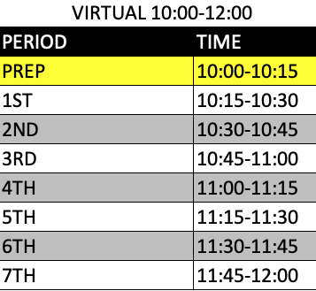 Hybrid Mondays - Virtual Schedule